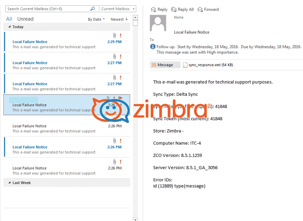How to Troubleshoot Zimbra Local Failure Message under Outlook