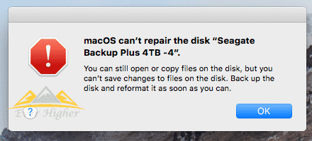 Error message Mac OS cannot repair HDD in Singapore
